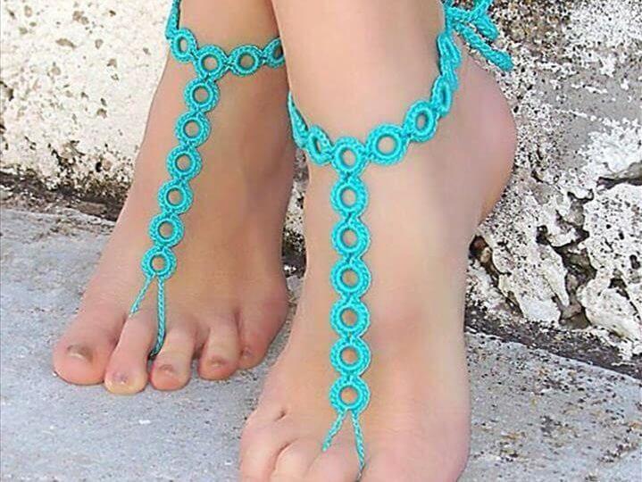 Beach Wedding Pure Cotton Barefoot Sandals Crochet Ankle Chain
