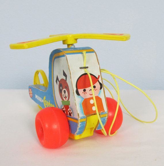 Vintage 1970 FISHER PRICE Mini Copter Pull Toy by VintageToyBox, $5.95