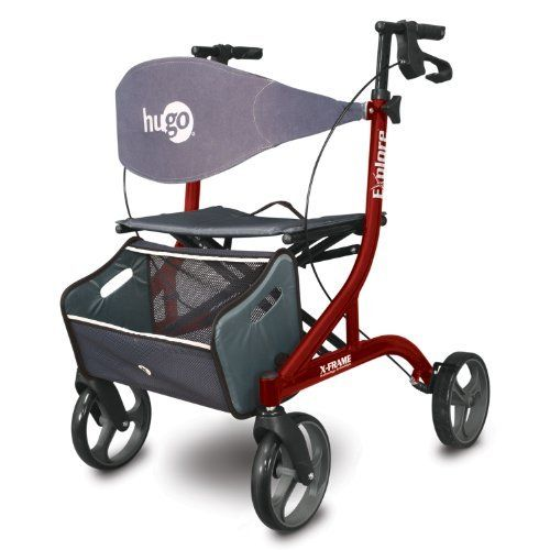 Hugo Explore Side-Fold Rollator Walker with Seat, Backrest and Folding Basket, Cranberry by Hugo Mobility. $199.99. This cranberry rollator walker is just 15.4 lbs. and weighs up to 20 percent less than the competition. This side-fold rolling walker has height adjustable handle bars for proper posture and ergonomic hand grips which place your hands at a natural angle for comfort and better brake access. The Hugo Explore Rollator is designed to support adults up ...