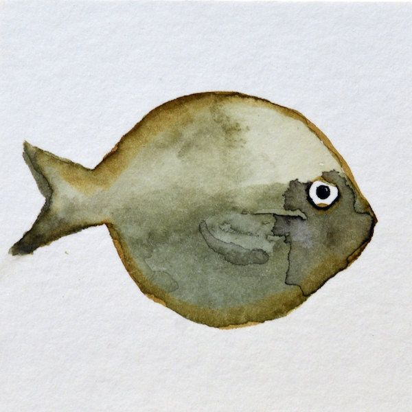 015 Fishy3 - ORIGINAL watercolor painting mounted on 7x7 cm plywood - 2,75x2,75 inch - 18 mm thick - Unique Item by Edart on Etsy
