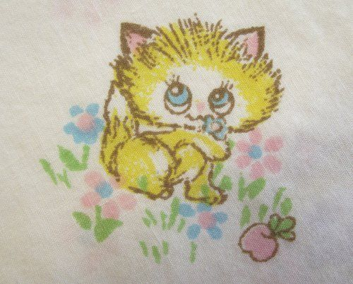 Yellow Kittens Pink & Blue Flowers Fitted Crib Sheet Baby Infant Bedding Vintage #Unbranded