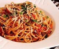Mediterranean Tuna Spaghetti Recipe - Spaghetti with a Caper, Tuna, and Tomato