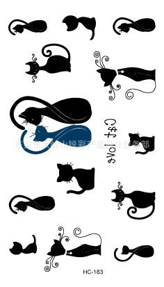Body Art wterproof temporary tattoos for men and women simple 3D black cat design small tattoo sticker WholesaleHC1183