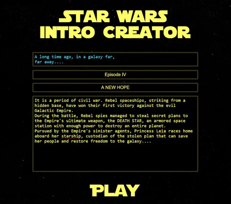 Star Wars Intro Creator is a wonderful website, developed by Bruno Orlandi and based on the work of Tim Pietrusky, that allows users to write their own adventures and display them as a classic Star…
