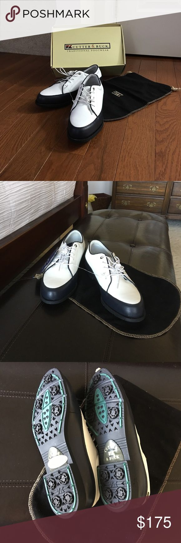 Women's Cutter & Buck Golf Shoes NWT women's navy and white golf shoes. Very good quality shoe; a favorite brand amongst golf professionals. Never worn or used. Comes with dust bag and original box. Cutter & Buck Shoes Athletic Shoes