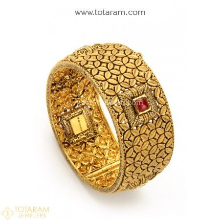22K Gold 'Antique' Kada with Fancy Stones - Single Piece - 235-GK541 - Buy this Latest Indian Gold Jewelry Design in 56.550 Grams for a low price of $3,160.25