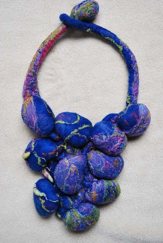 Fabulous shibori felt necklace by sassafrasdesignl on Etsy, $89,00