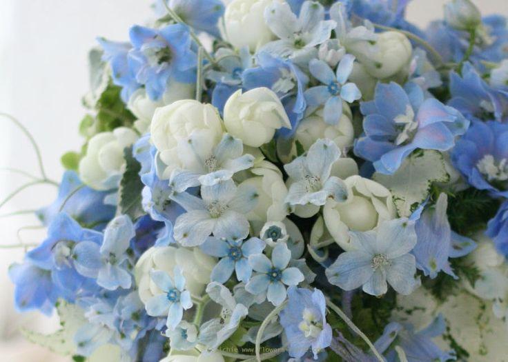 ブーケ セミキャスケード 水色に熔かす白 : 一会 ウエディングの花