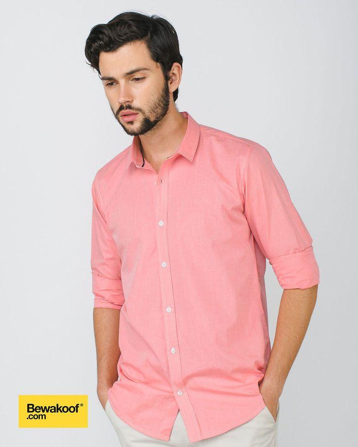 Bewakoof - Desert Pink Slim Fit Full Sleeve Casual Shirt INR 995 at Bewakoof.com