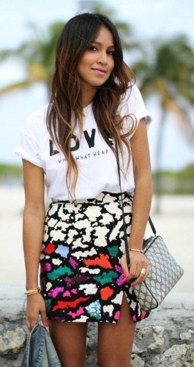 Bold patterns, florals, & printed skirts paired with fashionably cool graphic teeshirts. Street fashion for spring 2014. Trendy outfit ideas.