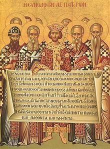 Emperor Constantine and bishops with the Creed of 381.