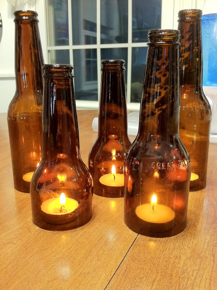 Tea Candle Beer Bottles Glass Bottle Art Pinterest