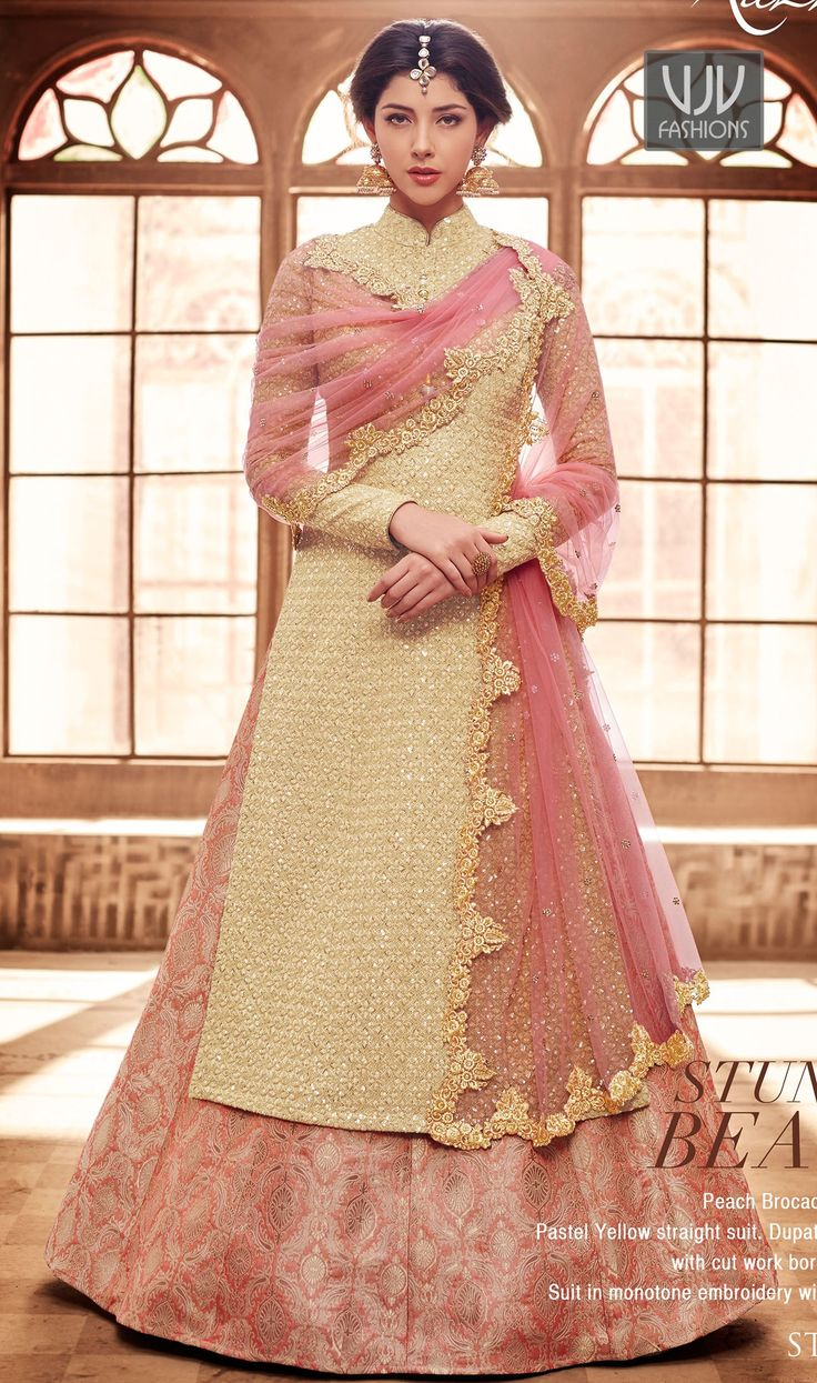 Designer salwar kameez mesmeric peach color net designer suit - Magnificent Pink And Cream Color Net Designer Straight Suit Looking Amazing With Attachment Of Pink And Salwar Suits