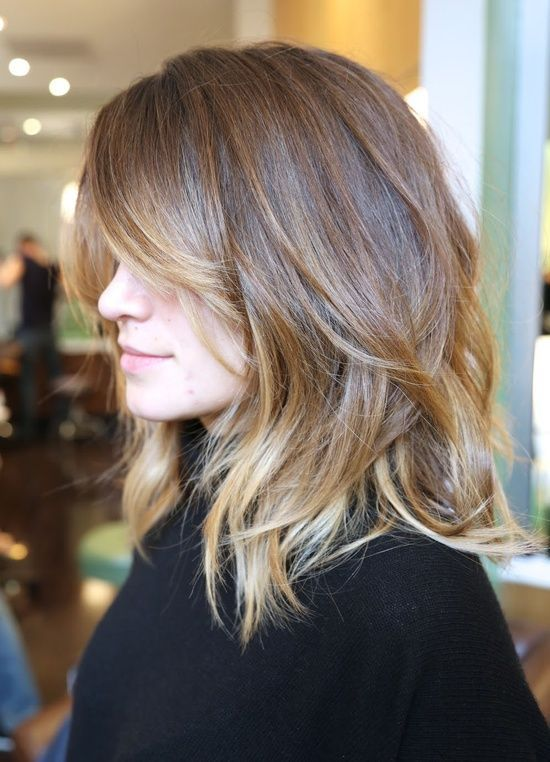 Long Layered Haircut With Bangs for Ombre Hair