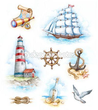 Набор морских Акварельные иллюстрации — Стоковое фото © Sashsmir #11556350