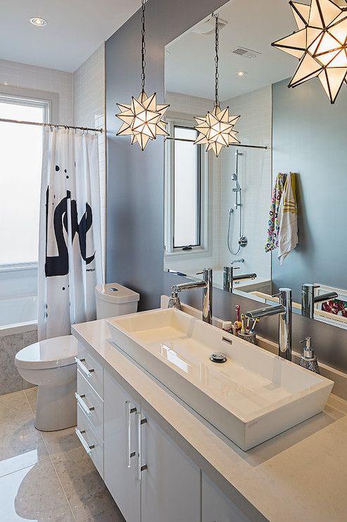 Peter A Seller - bathrooms - shower curtain, black and white shower curtain, drop in bathtub, trough sink, porcelain trough sink, dark gray ...