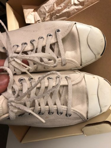 47574a3ac7f4 Vintage Converse Jack Purcell Size Men s 10.5 White Canvas Made in USA 80s  90s