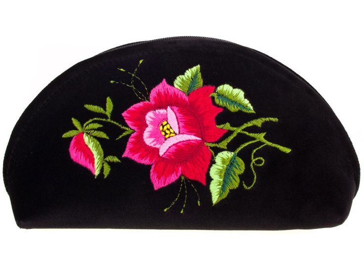 Haftowana duża folk kosmetyczka łowicka - róża różowa. Folk, folklor, ludowe, haft łowicki