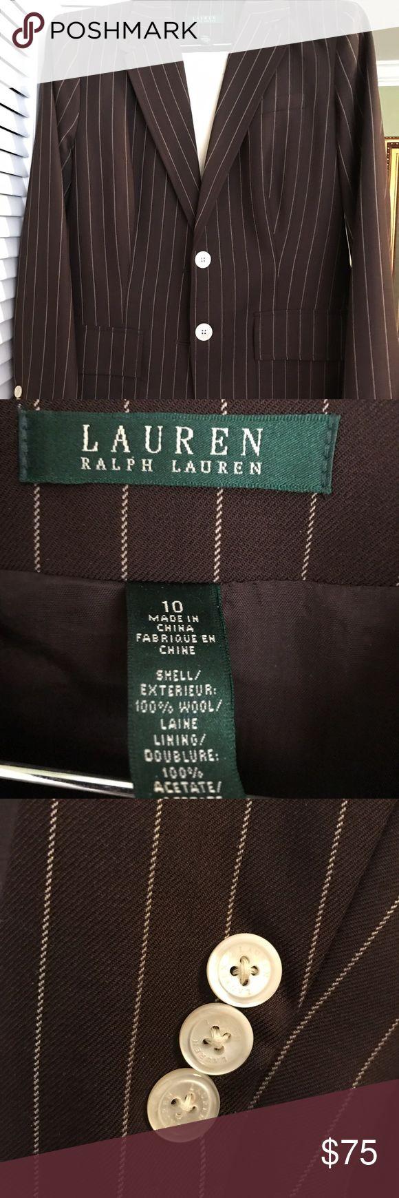 Ralph Lauren Brown Pin Striped Blazer New New with out tags Ralph Laure brown blazer. Pearlized buttons. Ralph Lauren Jackets & Coats Blazers