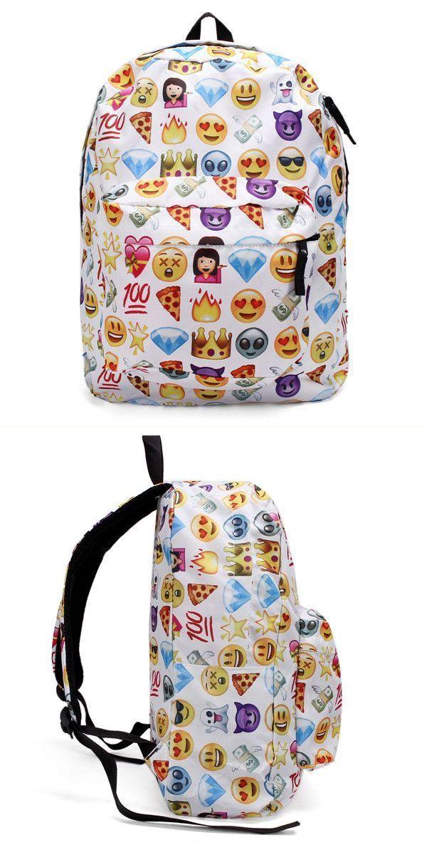 Backpack by vans women canvas emoji backpack girls cute rucksack students school book bags #backpack #07 #backpack #boy #backpacking #8 #months #hamp;m #backpack #philippines