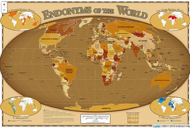 Countries are called by different names depending on who's doing the calling. Is it The United States of America or Les États-Unis? Deutschland or Germany? A country's own name for itself is called an endonym, and at endonymmap.com you can find a map of the world's endonyms. The map at the site allows you to zoom in and explore more fully, but here are a few interesting close ups: