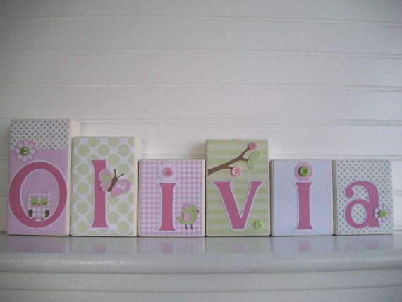 Name Blocks . Baby Girl Name Blocks . Nursery by ...