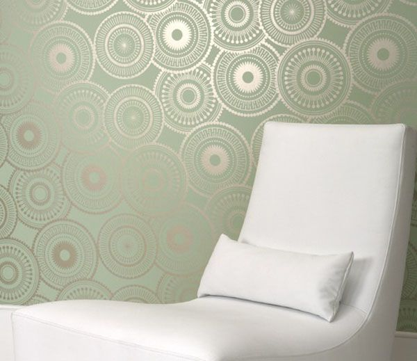 "I love this green based ""crop circle"" wall paper."