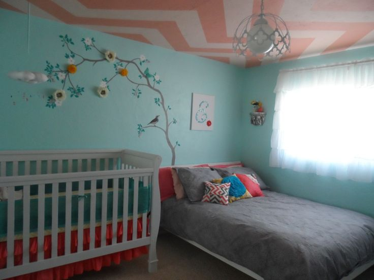 Nursery + Shared Guest Bedroom - we love the chevron ceiling! #chevron #nursery