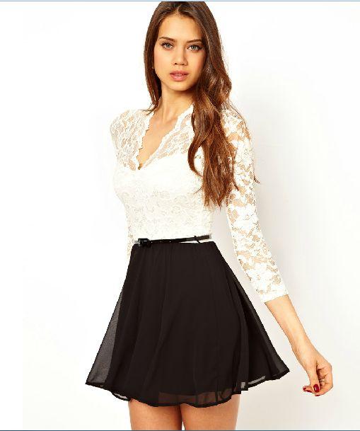 vestido de manga larga de encaje blanco Uniéndonos gasa negro
