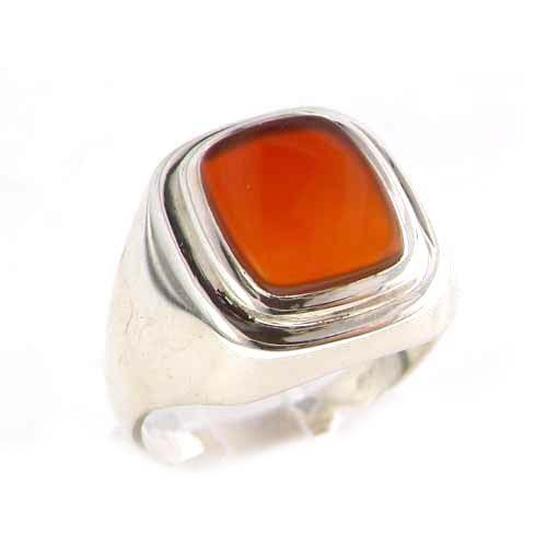 Gents Solid 925 Sterling Silver Natural Carnelian Mens Signet Ring, Made in England - Size N - Finger Sizes N to Z+3 Available - Ideal gift for fathers day, valentines, wedding, birthday, christmas, thanksgiving, grandfathers day, uncle, dad, son, nephew