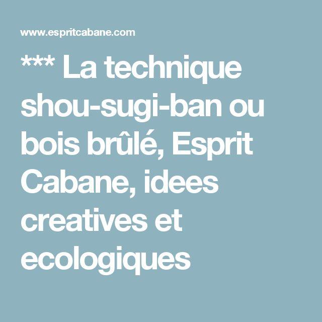 *** La technique shou-sugi-ban ou bois brûlé, Esprit Cabane, idees creatives et ecologiques