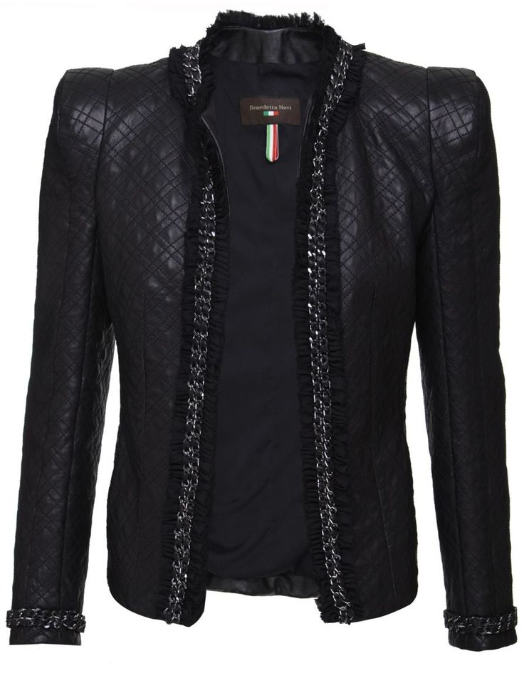 Premium Italian leather biker jacket has double diamond quilt pattern and chain fringing around the hem and cuffs.
