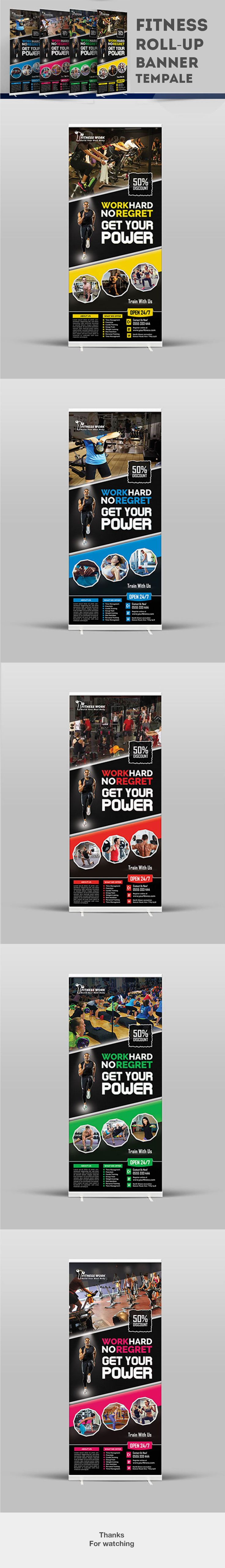 Fitness Roll-up banner template on Behance
