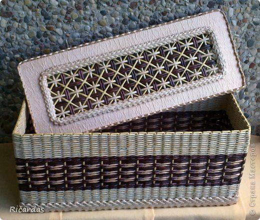 Поделка изделие Плетение Коробки-двойняшки  Бумага газетная Картон гофрированный Трубочки бумажные фото 5
