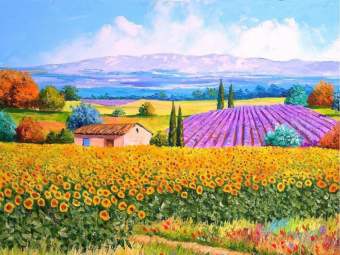 Dreamy Provence - Jean Marc Janiaczyk Landscape  Paintings  - Lavender and sunflowers - Colourful Provence Landscape Paintings  1600*1200  1