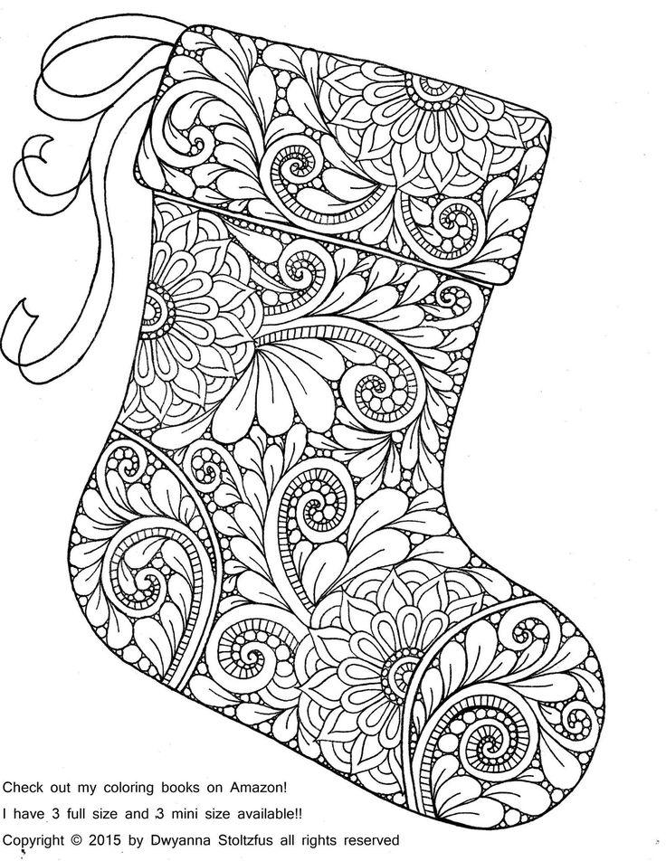 Paisley Christmas Stocking Coloring Page
