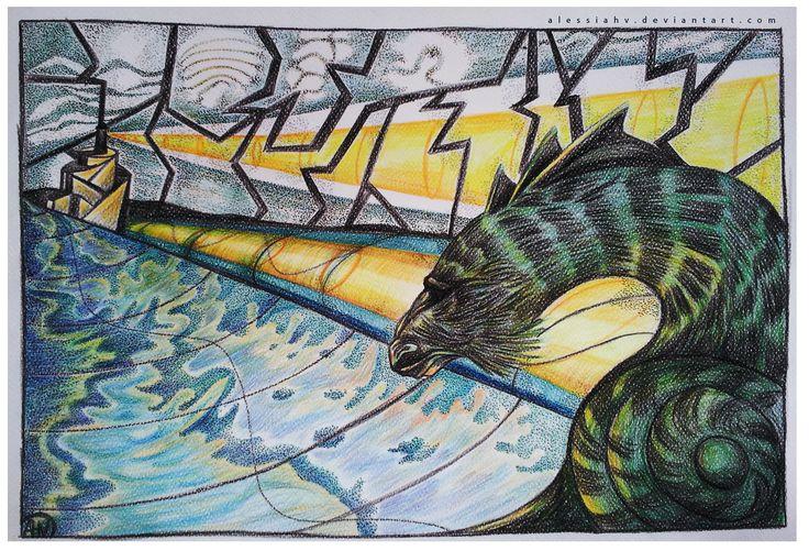 Alessia H.V.,' Dunwich Fog-Horn', crayons on paper, 2014.