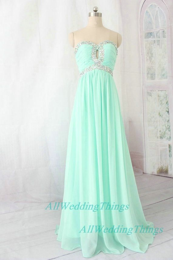 Long green mint prom dress