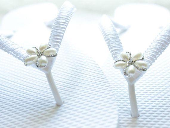 09fdcac43 White Bride Flip Flops
