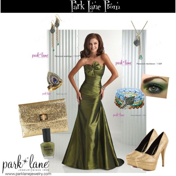 Peacock Prom, created by parklanejewelry on Polyvore  Park Lane Jewelry featured: Peacock necklace, bracelet, earrings, & ring