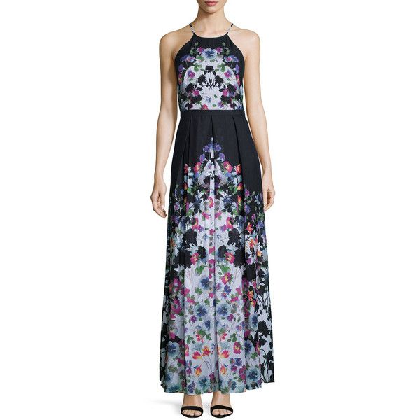 Phoebe Halter-Neck Floral-Print Maxi Dress (1,025 BOB) ❤ liked on Polyvore featuring dresses, pleated dress, floral print maxi dress, halter maxi dress, halter top and halter neck maxi dress