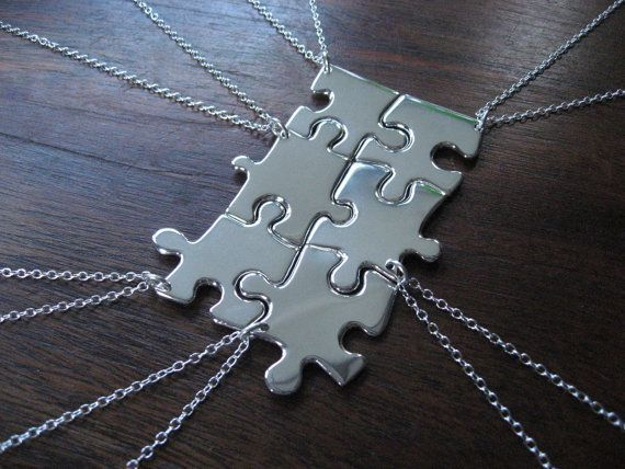 """A friendship puzzle necklace set.... You use real puzzle pieces covered in mod podge and cover in pretty paper or spray paint them chrome.  I thought that was a lovely idea for a girl's birthday party as no one would get left out of having a piece of a """"friendship"""" necklace."""