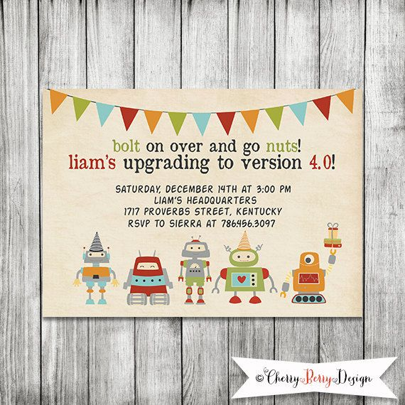 49 best robot party ideas images on pinterest birthdays birthday robot invitation robot birthday invite 5x7 by cherryberrydesign 1000 filmwisefo Gallery