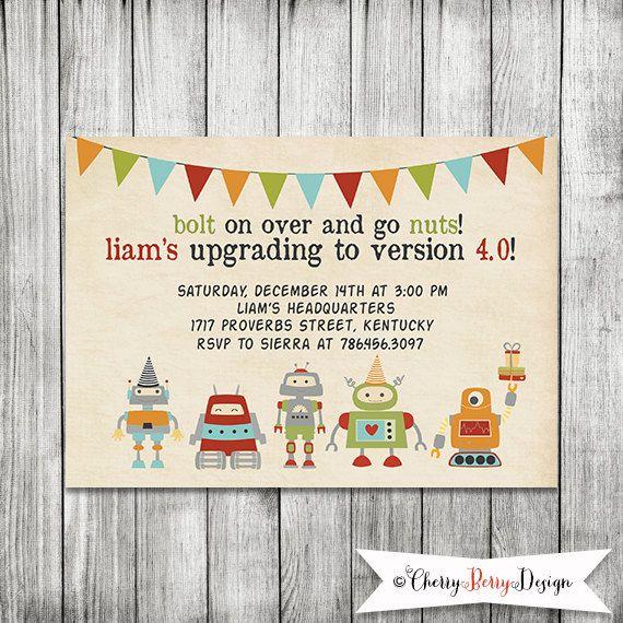 Robot Invitation, Robot Birthday Invite- 5X7 PRINTABLE on Etsy, $10.00
