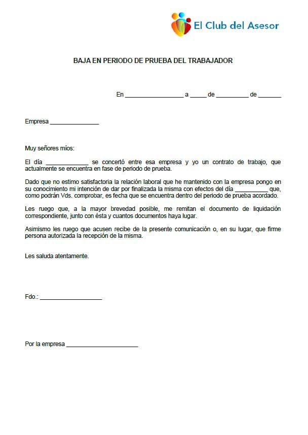 Carta desistimiento periodo de prueba de trabajador