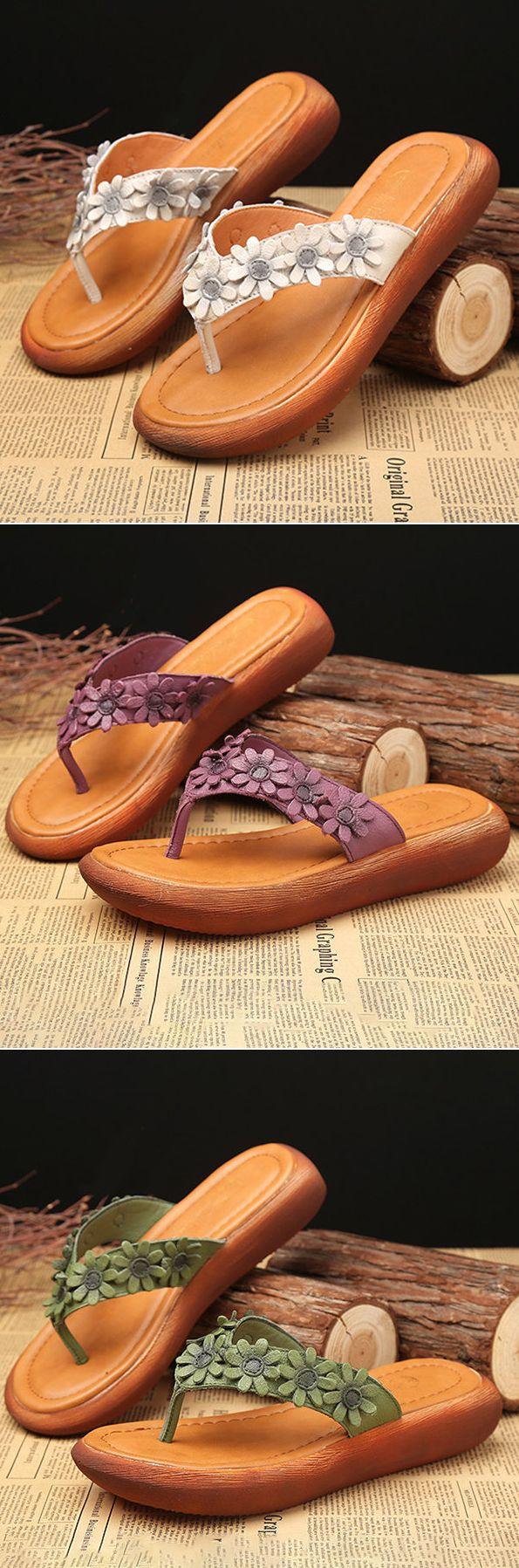 US$33.37 SOCOFY Flower Clip Toe Vintage Flip Flops For Women