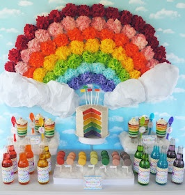 Tissue Pom Rainbow for Dessert Table (also see cotton cloud display)