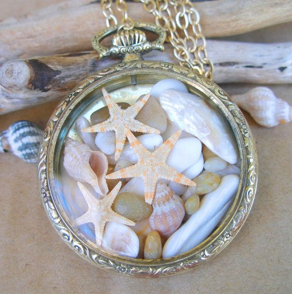 Nautical 14k Gold Filled Antique Pocket Watch filled with Coastal Treasures - Surf and Sand