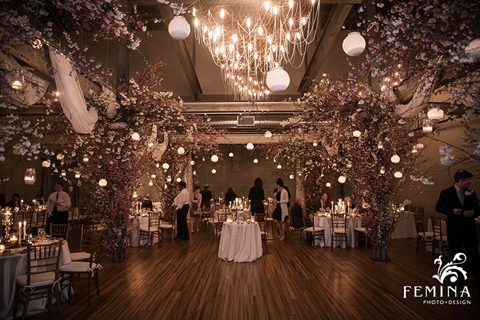 Cherry Blossom Wedding Decor Spring Wedding Decor Urban Wedding Venue Front And Palmer