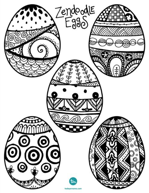 Zendoodle Easter Egg Coloring Page on TodaysMama.com